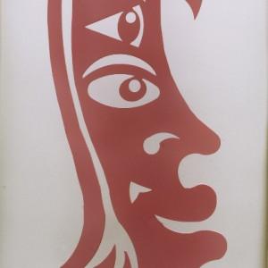 Profil de jeune fille sculpture en acier découpé et peint 200 x 70 cm, 2009