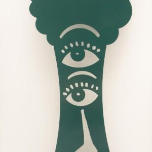 L'écologiste sculpture en acier découpé et peint 200 x 70 cm, 2009