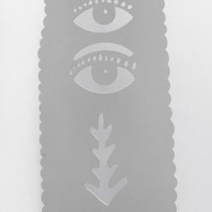 Dame aux 4 yeux sculpture en acier découpé et peint 200 x 70 cm, 2009