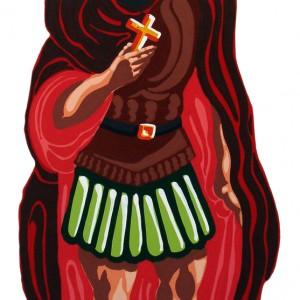 Saint Expedit Huile sur métal découpé, 140 x 65 cm 2009