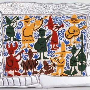 Feria acrylique sur papel amate et cadre en pewter 75 x 95 cm, 2002