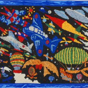 La conquête du ciel sequins et perles sur tissu, 75 x 90 cm, 2004